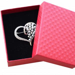 Brosa dama eleganta in forma de inima cu perle acrilice, Silver heart