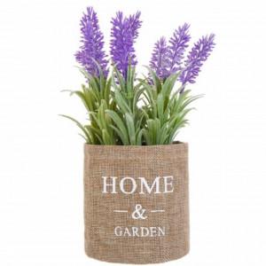 Buchet de flori de lavanda artificiala in ghiveci Pufo Lavender, 11 x 25 cm