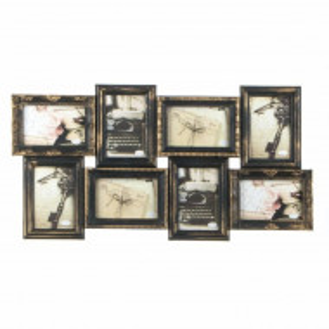 Cadru rama foto Pufo vintage cu model in relief, 8 poze, bronz, 70 x 36 cm