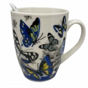 Cana ceramica pentru cafea sau ceai cu lingurita, model Blue Butterfly, 11 cm