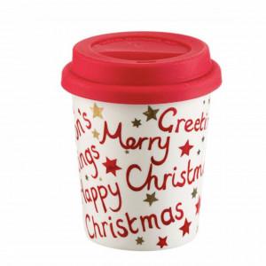 Cana ceramica Pufo cu mesaj Christmas pentru cafea cu capac din silicon, 250 ml