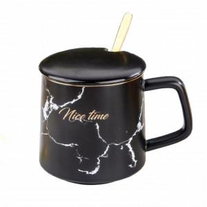 Cana cu capac din ceramica si lingurita Pufo Time pentru cafea sau ceai, 300 ml, negru