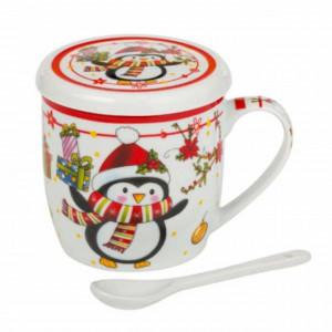 Cana pentru cafea sau ceai Pufo cu lingurita, model Pinguinul vesel