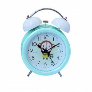 Ceas de masa desteptator pentru copii Pufo Joy, cu buton de iluminare cadran, 16 cm, model Happy Monkey