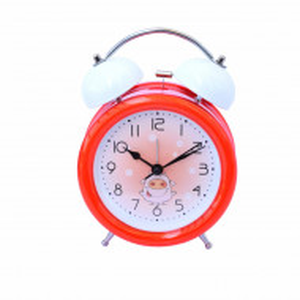 Ceas de masa desteptator pentru copii Pufo Joy, cu buton de iluminare cadran, 16 cm, model Happy Pig