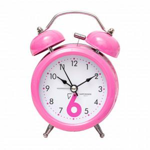 Ceas de masa desteptator Pufo Joy cu buton de iluminare cadran, metalic, 15 cm, roz