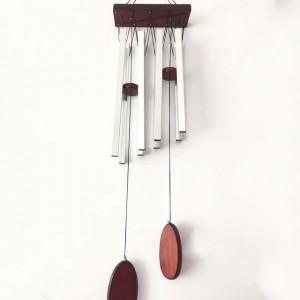 Clopotel de vant cu 8 tuburi sonore metalice argintii pentru casa sau gradina, model Feng-shui