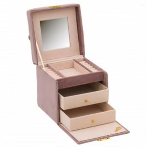 Cutie caseta eleganta pentru organizare si depozitare bijuterii din catifea roz, cu cheita