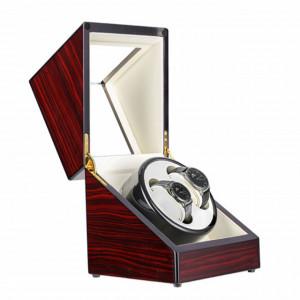 Cutie caseta Pufo Premium de prezentare si de intors ceasuri automatice, 2 locuri, maro