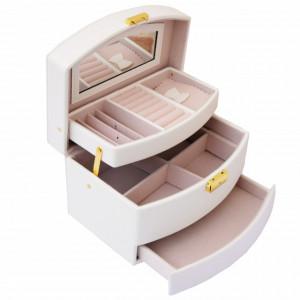 Cutie eleganta de dama Pufo Elegance pentru depozitare si organizare bijuterii si accesorii, model etajat, crem