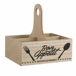 Cutie pentru depozitare Pufo cu 4 separatoare din lemn, 20 x 15 x 20 cm
