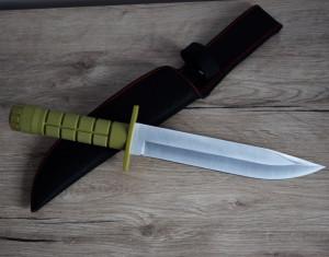 Cutit baioneta 33 cm cu maner ergonomic din ABS texturat, teaca din material textil