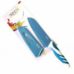 Cutit de bucatarie Santoku cu protectie lama, maner antiaderent, TEC Germany, albastru