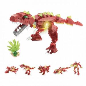 Dinozaur de contruit 6 in 1 din piese cu lumini, 172 buc, Pufo