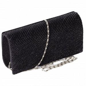 Geanta plic clutch elegant de dama, model Pufo Black Shine, 20 cm