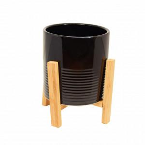 Ghiveci decorativ Pufo Black din ceramica pe suport din lemn, 15 cm