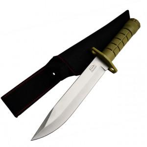 Pachet cutit baioneta 33 cm cu maner ergonomic din ABS texturat, teaca din material textil + prastie metalica de buzunar cu cauciuc natural, latex, rezistent