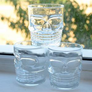 Pahar din sticla, forma de craniu, 270 ml, Pufo
