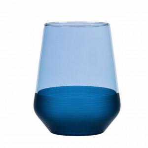 Pahar Pufo Blue pentru apa, suc, racoritoare, din sticla, 425 ml
