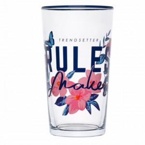 Pahar Pufo Rules Maker din sticla pentru bauturi, 600 ml