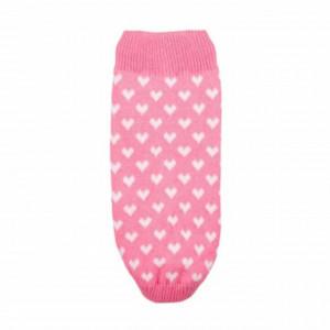 Pulover tricotat Pufo pentru caini, model Hearty pink