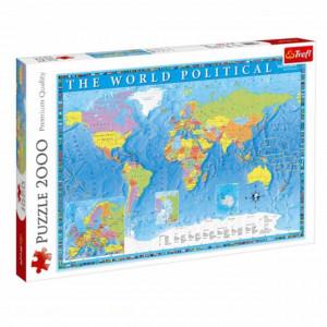 Puzzle Harta politica a lumii, pentru copii si adulti, 2000 piese, model Premium