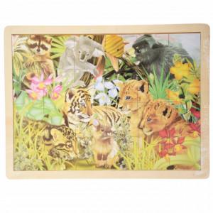 Puzzle Pufo din lemn pentru copii, 24 piese, 40 x 30 cm, model Jungle junior