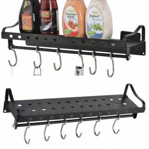 Raft metalic multifunctional cu suport si 6 cuiere pentru condimente si ustensile de bucatarie, 40 cm, negru