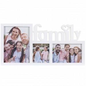 Rama foto decorativa cu 3 poze, model Pufo Familly, 40 x 20 cm, alb