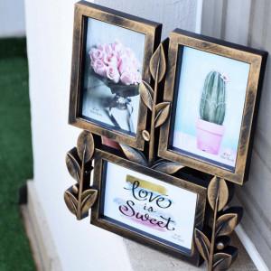 Rama foto decorativa Pufo Imperial Brown cu 3 poze, 30 x 25 cm