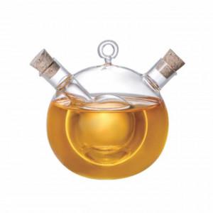 Recipient oliviera din sticla 2 in 1 Pufo pentru lichide, ulei, otet, 340 ml, transparent