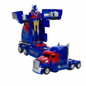 Robot transformabil Pufo albastru cu sunete si lumini, 25 cm