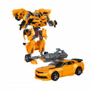 Robot transformabil Pufo galben, cu baterii, cu sunete si lumini