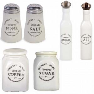 Set de bucatarie cu recipiente pentru sare, piper, zahar, otet, ulei si cafea din ceramica, Pufo