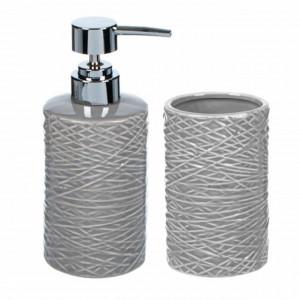 Set dispenser sapun lichid si suport periuta de dinti din ceramica, Pufo