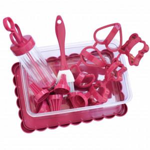 Set pentru decorare torturi si prajituri cu cutie depozitare, 14 piese, roz