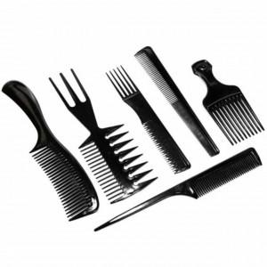 Set pieptene pentru frizerie si coafor, 6 piese, negru