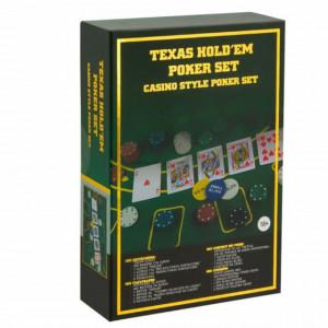 Set Poker Texas cu suprafata de joc, 2 pachete de carti si 200 jetoane, Pufo