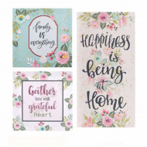 Set tablou decorativ canvas, model Pufo Grateful cu mesaje, 3 piese