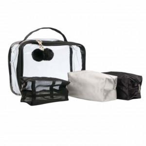 Set trusa portfard Black and white pentru depozitare cosmetice, 4 buc