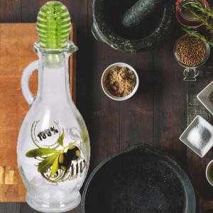 Sticla pentru ulei Pufo cu maner si dispenser, transparenta, 250 ml