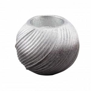 Suport decorativ elegant din portelan pentru lumanare Pufo Silver, 8,5 cm
