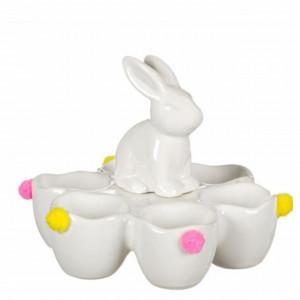 Suport platou decorativ ceramica pentru 6 oua, model Iepuras, 16 cm