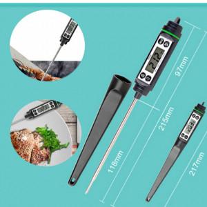 Termometru digital cu sonda pentru bucatarie, lichide, alimente, carne, lactate, prajituri, ceara etc. -50° C - +350° C, model PREMIUM, negru