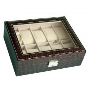 Cutie caseta eleganta depozitare cu compartimente pentru 10 ceasuri, imprimeu crocodil, model Premium cu cheita, maro inchis, Pufo