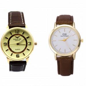 Pachet ceas clasic barbatesc elegant, model SLIM + ceas de dama slim, model clasic, curea maro