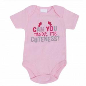 Body cu capse pentru nou nascuti, 0-3 luni, Cuteness, roz