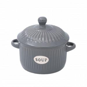 Bol din ceramica cu capac pentru supa sau ciorba, model gri, 600 ml