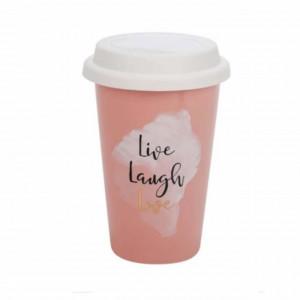Cana ceramica Pufo pentru cafea sau ceai cu capac din silicon, model Live, laugh, love