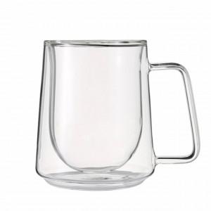 Cana cu pereti dubli Pufo pentru bauturi fierbinti, cafea sau ceai, 280 ml, transparent